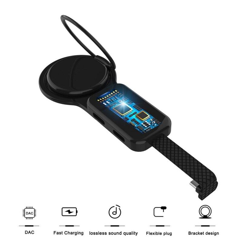 Adaptateur et porte-anneau type-c OTG double chargeur Audio USAMS 3.5mm réglage du support pour téléphone charge rapide pour adaptateur Android type-c