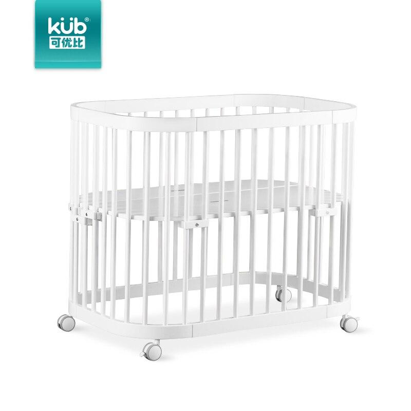 Lit de couture d'ajustement multifonctionnel de berceau de peinture en bois de pin sain lit multifonctionnel de lit de bébé nouveau-né mobile lit jumeau - 4
