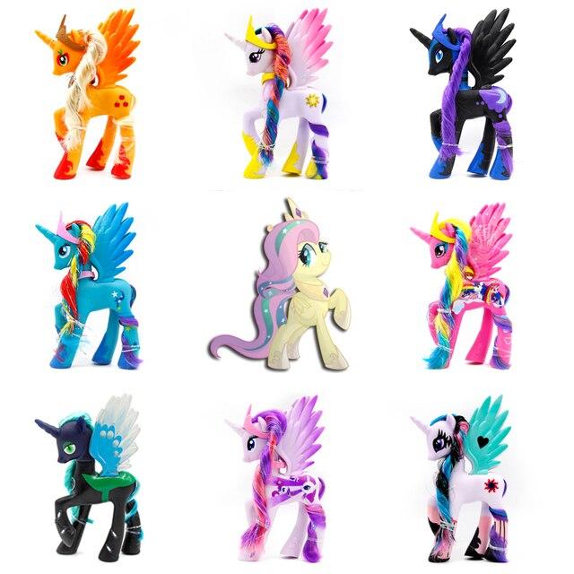 14cm Rainbow Horse PVC Cake Girl Unicorn Doll Ornaments
