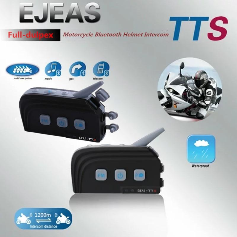 2 PC EJEAS TTS Double Interphone bluetooth Moto Casque BT Casque Kit Max 4 Coureurs Moto Interphone Communication Système Avec FM
