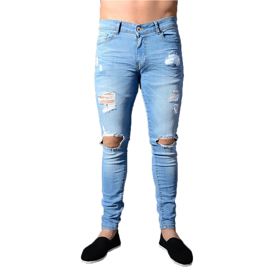 2018 New Fashion Brand High Quality Mens Jeans Ripped Distressed Holes Denim Pants Skinny Slim Fit Male Jeans Homme Streetwear