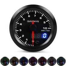 Dynoracing Dual Display 52MM 7 Colors Tachometer 0-10000 Rpm gauge with stepper motor Rpm meter