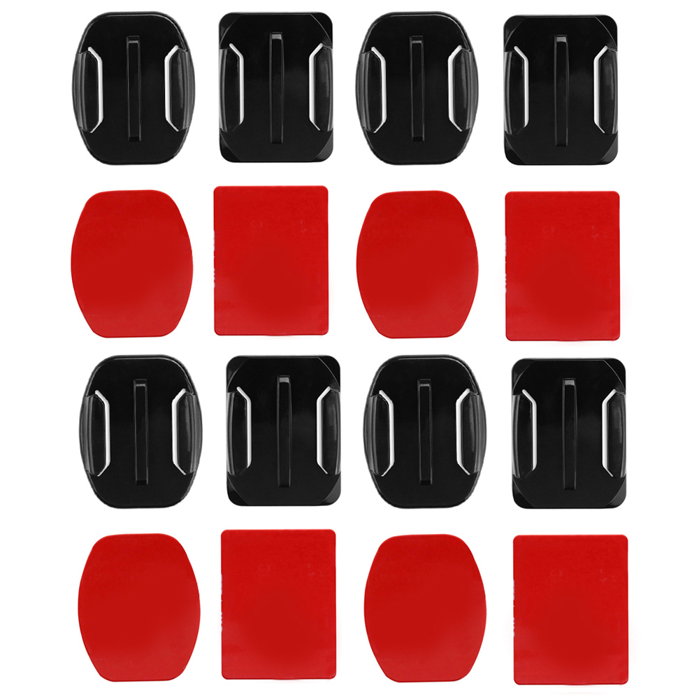 SHOOT 8pcs Flat Curved Base Mount and Adhesive Stickers for GoPro Hero 5 6 4 Yi 4K SJCAM SJ4000 Mount for Gopro Accessories Set sanger for gopro accessories extension arm pole mount helmet set for gopro hero 4 3 3 camera pole mount set tripods accessory