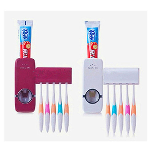 New Bathroom Set Automatic Toothpaste Dispenser Toothbrush Holder Sets, Toothbrush Toothpaste Squeezer Red/White