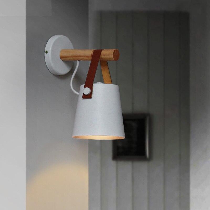 Светодио дный стены из светлого дерева бра кровать прикроватный свет ночные огни современный Nordic абажур Home Decor белый и с черным пояском E27 ...