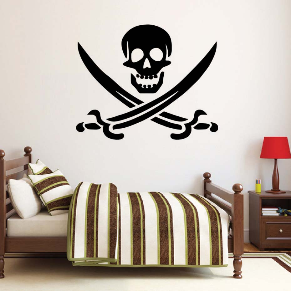 dctop pirate symbol decal diy removable art skull wall sticker mural 3d design house decoration for living room in wall stickers from home garden on - Stickers Muraux Design Decoration