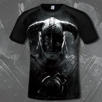 The Elder Scrolls Men S Cotton T Shirt Comfortable Game Skyrim 3D Print T Shirts Casual