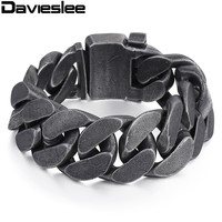 24mm Mens Chain Boys Big Curb Link Gunmetal Tone 316L Stainless Steel Bracelet HEAVY Wholesale Jewelry