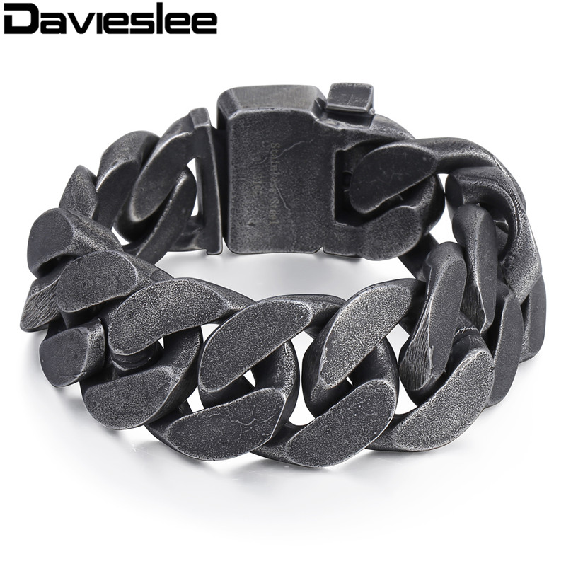 Davieslee Mens Chain 316L Stainless Steel Heavy Bracelet Gunmetal Tone Big Curb Link Wholesale Jewelry 24mm LHB333 25mm mens chain boys big curb link gunmetal tone 316l stainless steel bracelet charm bracelets for women
