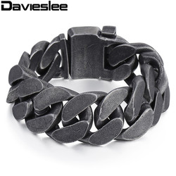 Davieslee Mens Chain 316L Stainless Steel Heavy Bracelet Gunmetal Tone Big Curb Link Wholesale Jewelry 24mm  LHB333