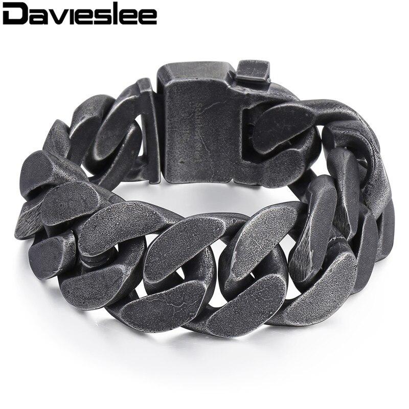 Davieslee mens cadena 316L pulsera pesada de acero inoxidable tono bronce Big curb Link joyería al por mayor 24mm LHB333