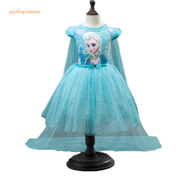Customs Fashion Girls Children Clothes Anna Elsa Dress Girl Baby Elza Dresses For Girl's Kids Princess  Infantis 2-10 years old nimble girls dress roupas infantis menina baby girl clothes vestido kids dresses for girls robe fille baby girl clothes moana