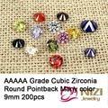 9mm 200 pcs Cubic Zirconia Beads Para Jóias Acessórios Rodada Grau AAAAA Cubic Zirconia Pedras Muitas Cores Charme Strass