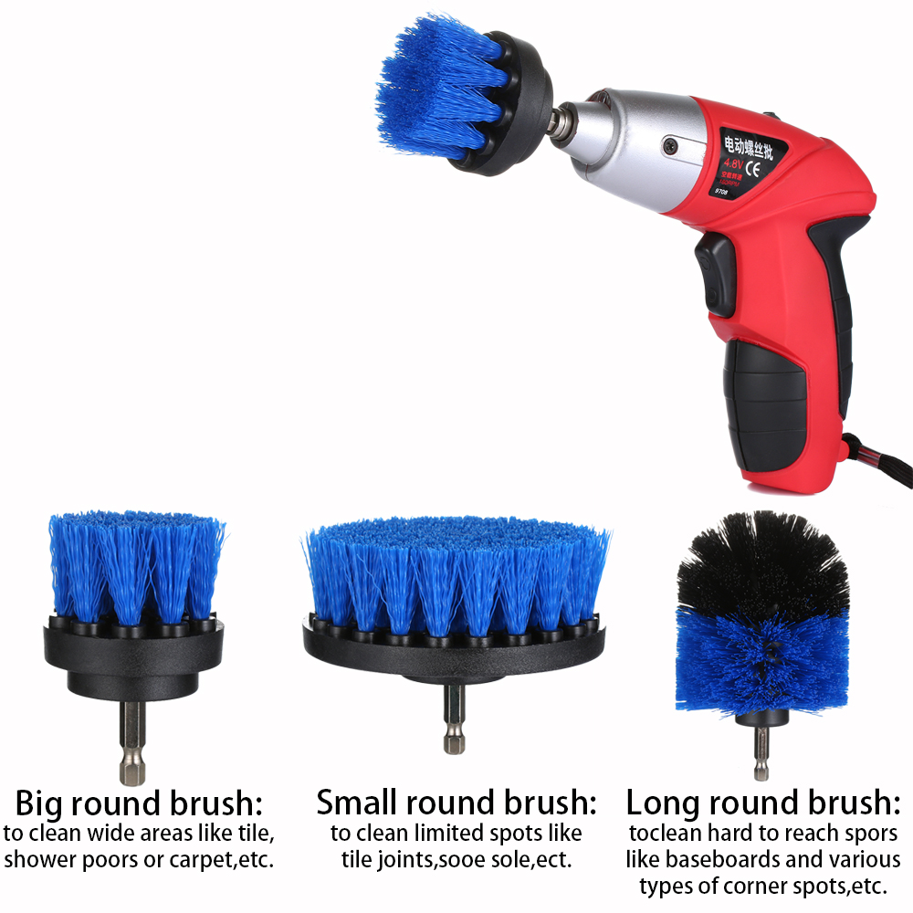 3pcs/set Yellow/Blue Bristle Drill Cleaning Brush Power Scrubber ...