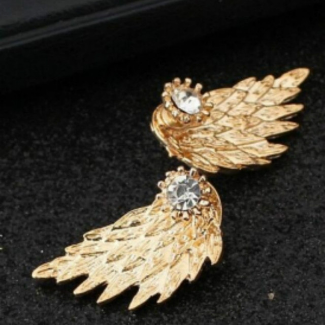 New Fashion Gold Silver Gothic Cool Angel Wings Rhinestone Alloy Stud Earrings Gifts Women's Ear Studs Party Jewelry Earrings 2