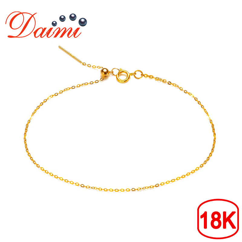 DAIMI Adjustable Pure Gold Chain Bracelet 18K Yellow Gold Chain Universal Chain Gold Bracelet Gift For