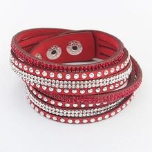 Multilayer Wrap Leather Bracelets Women Men Crystal PU Cuff Bangles Rhinestone Charm Europe Link Chain Wristbands Punk Jewelry