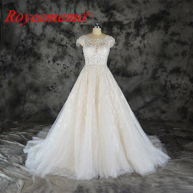 ファッションのレースのウェディングドレスシャンパンとアイボリーウェディングドレスカスタムメイド卸売価格ブライダルドレス