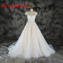 Fashion kant trouwjurk champagne en ivoor trouwjurk custom made groothandel prijs bridal dress