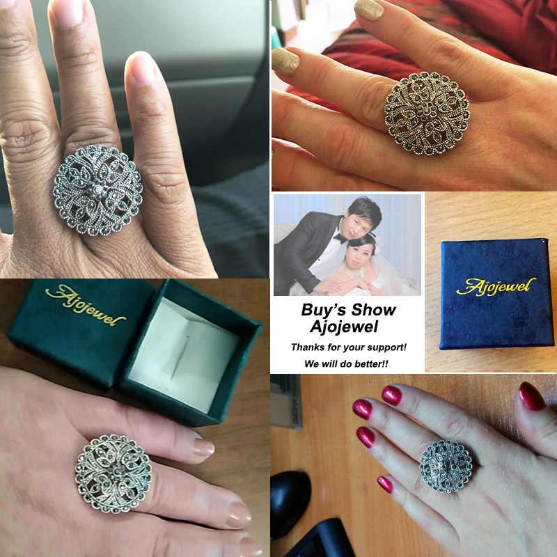 Drop Shipping Ajojeel Retro Rhinestones แหวนดอกไม้ผู้หญิง Vintage เครื่องประดับหญิง