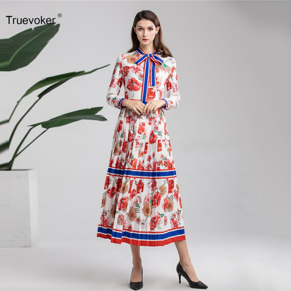 De Noble Ete Midi Imprimé Printemps Fleur Qualité Drapé Designer Truevoker Femme Fantaisie Haute Robe Femmes waUx7qI