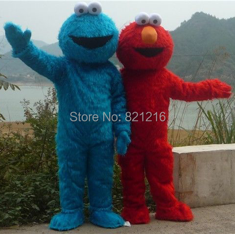 Red Elmo Blue Cookie Monster Mascot Costume price for both Animal Carnival Free Shipping