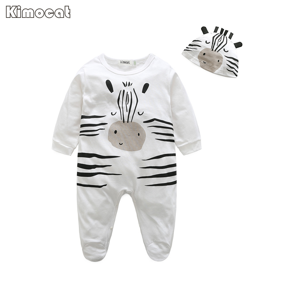 Kimocat Baby rompers long sleeve cotton jumpsuit baby infant cartoon Animal newborn baby clothes romper+hat 2pcs clothing set newborn baby girl rompers cute cartoon animal print clothes cotton long sleeve clothing set infant costumes baby boys clothes