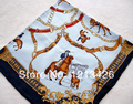 Corrida de Toros de la manera Patrón de La Bufanda de Seda Pura Mujeres Azul Mano Roll-Cercado de Sarga de Seda Infinito Chal Cuadrado Para El Regalo