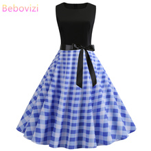 Bebovizi 2019 Summer New Women Casual Office Vintage Dresses Blue Plaid Print Elegant Plus Size Black Patchwork Bandage Dress
