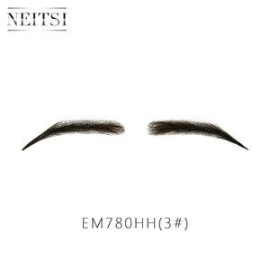 Image 3 - Neitsi kobieta jedna para fałszywe brwi realistyczne wygodne 100% ludzkie włosy Handmade fałszywe brwi do makijażu Party EM 780HH 3 #