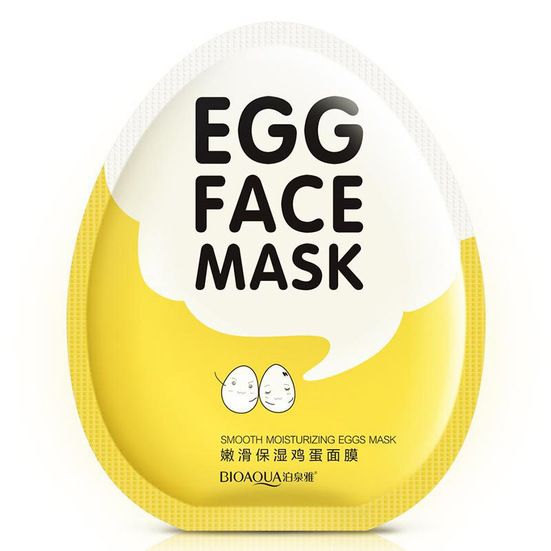 BIOAQUA Egg Facial Mask Smooth Moisturizing Face Mask Oil Control Shrink Pores Whitening Brighten Mask Skin Care brand 5pcs face skin beauty care set kit olive oil mask cleanser facial cream toner lotion whitening moisturizing shrink pores