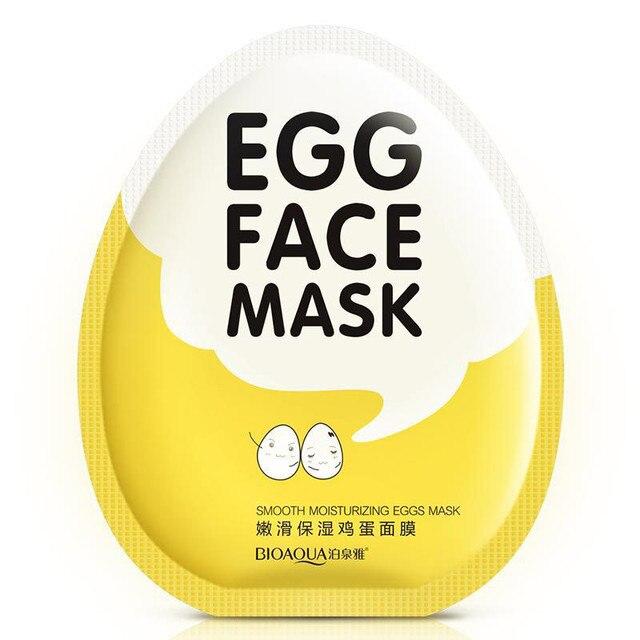BIOAQUA huevo mascarilla Facial Suave hidratante mascarilla Control de aceite reducción de los poros blanqueamiento brillo máscara cuidado de la piel