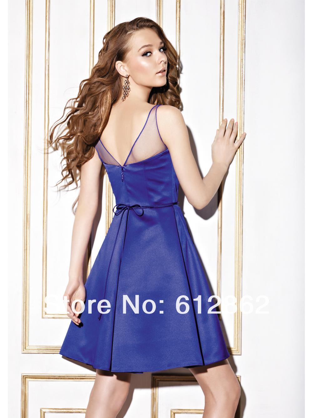 Elegante Sin Mangas de Raso Vestidos de Cóctel Azul Real Vestidos ...