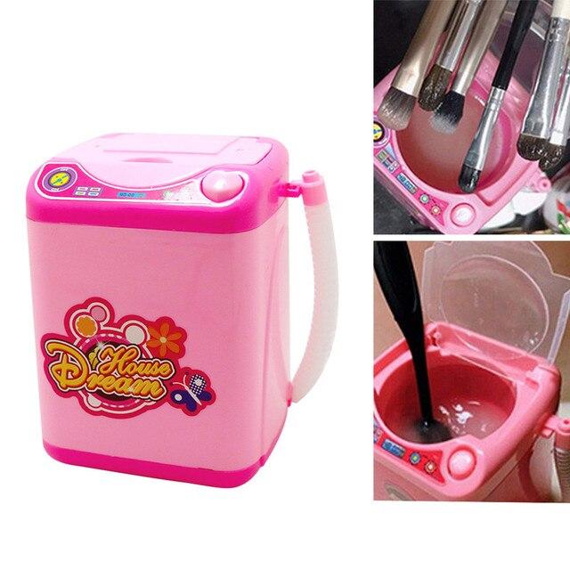 Limpiador de brochas de maquillaje Mini simulación eléctrica polvo cosmético Puff lavadora brochas de maquillaje limpiador herramienta de lavadora *