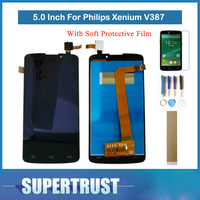 Original 5.0For Philips Xenium V387 LCD Display+Touch Screen Digitizer Assembly Black With tools tape and Soft Protective Film