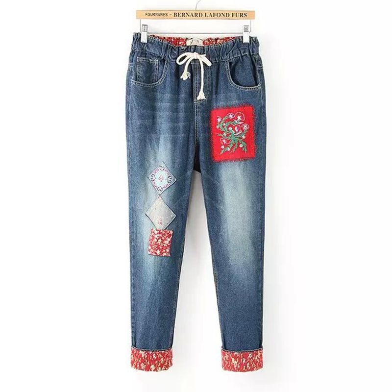 Ethnic Embroidery Elastic Haren Pants Denim Jeans Loose Pants Female Trousers Autumn Summer Thin Pants Flower Patch Decoration цены онлайн