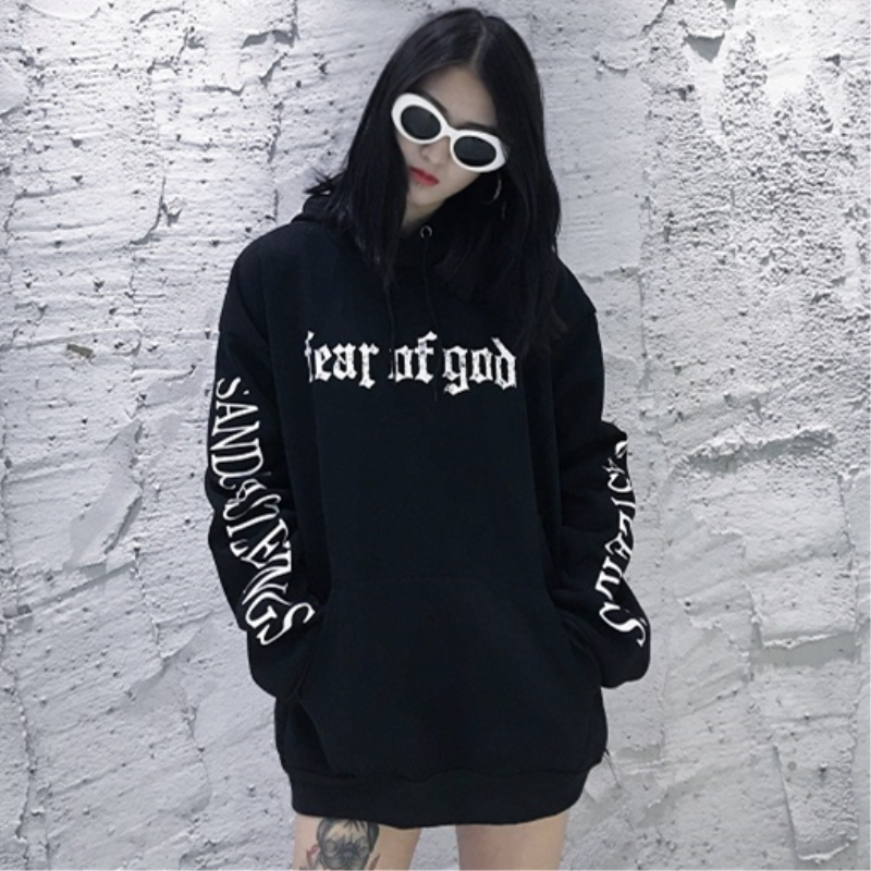 2018 Spring Autumn New Fashion Women's Clothing Hooded Collar Hoody Hip Hop Letter Printed Bat Sleeve Female Top YZH438