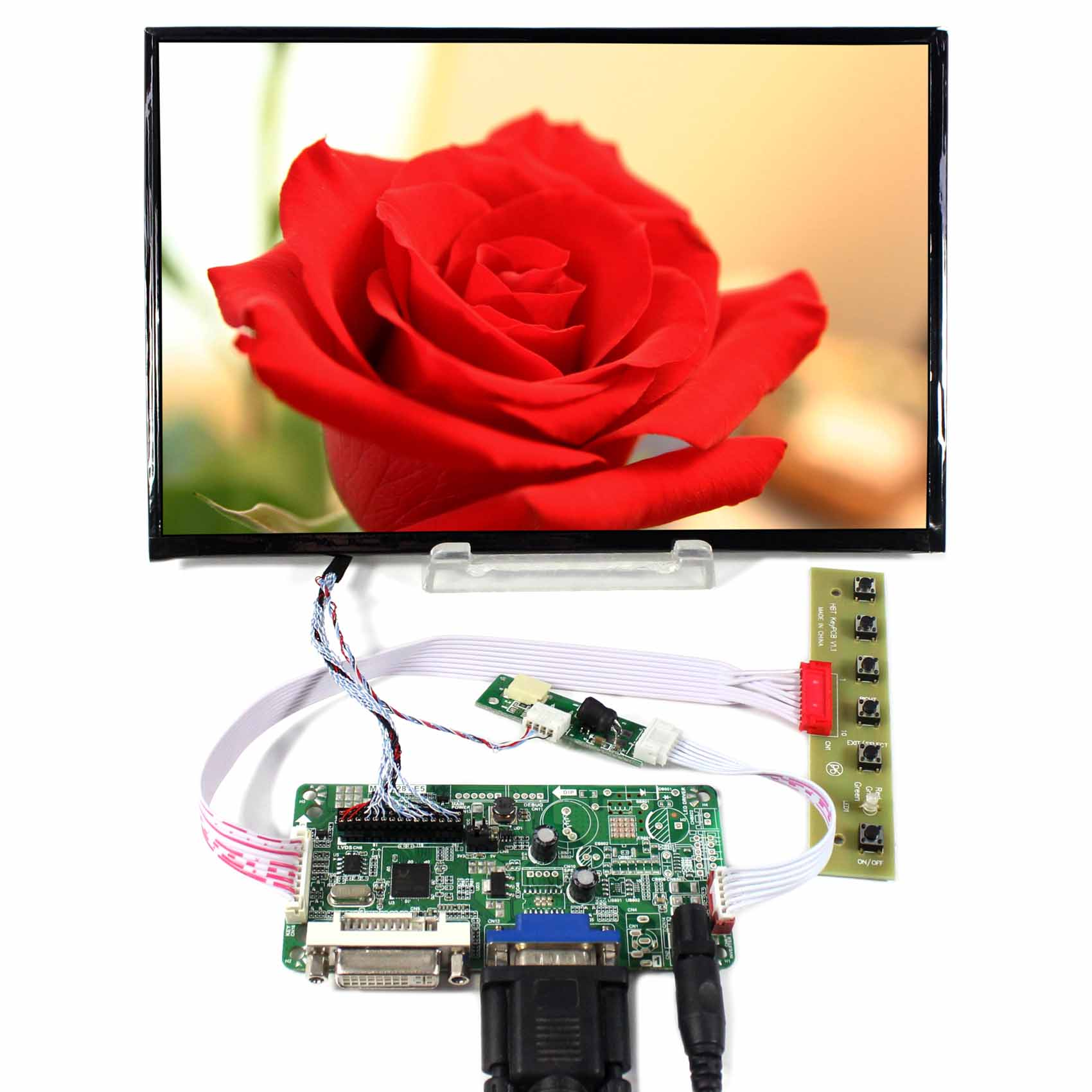 DVI+VGA LCD Controller Board RT2281 With 10.1inch 1920x1200 B101UAN02.1 AHVA LCD Panel стоимость