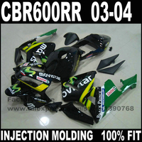 High quality motorcycle parts for CBR 600 RR 2003 2004 CBR600RR F5 fairings set 03 04 CBR600 black movistar fairing kits