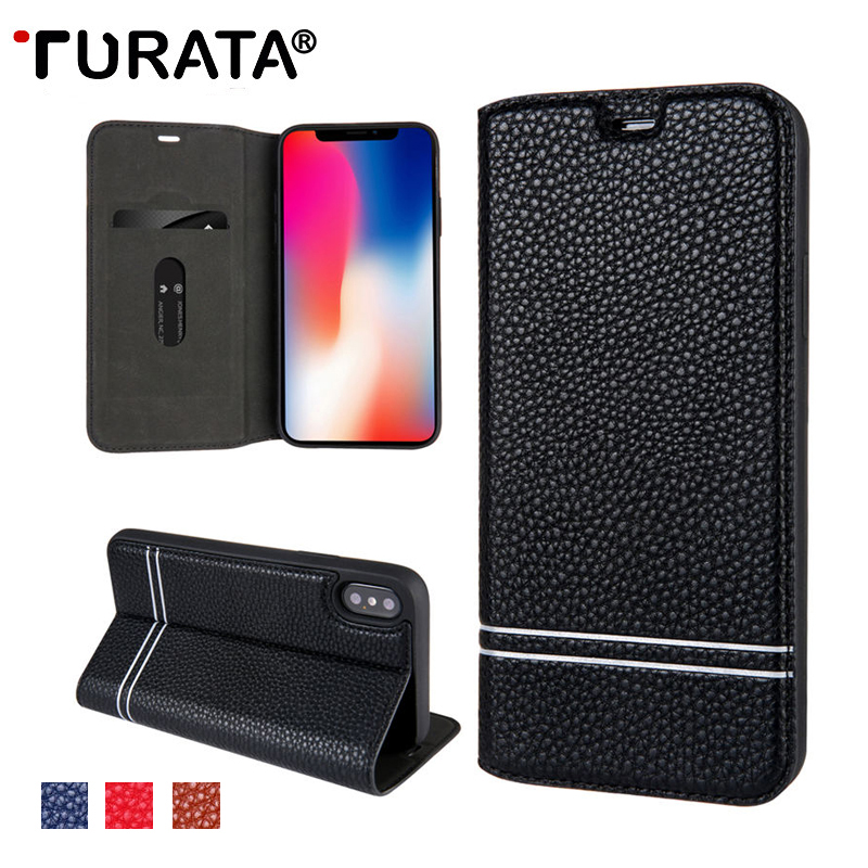 TURATA Litchi Texture Leather Case For iPhone X 6 6S 7 8 Flip Cover Wallet Magnetic Phone Case For Samsung Galaxy S8 /S8 Plus
