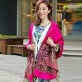 Mulheres de alta qualidade lenços étnico foulard tippet xale cachecol de lã das senhoras longo lenço no pescoço femme femme tippet