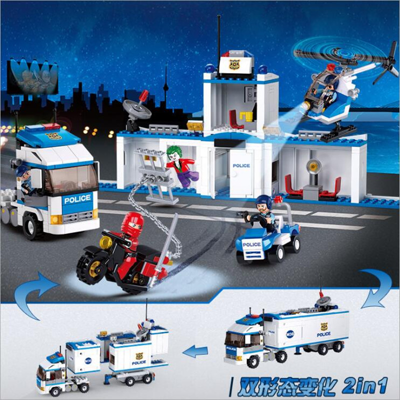 Sluban 572Pcs  2in1 Technic Police Stati Helicopter Transport Truck Building Model Blocks Kids Toys Compatible with Legoe