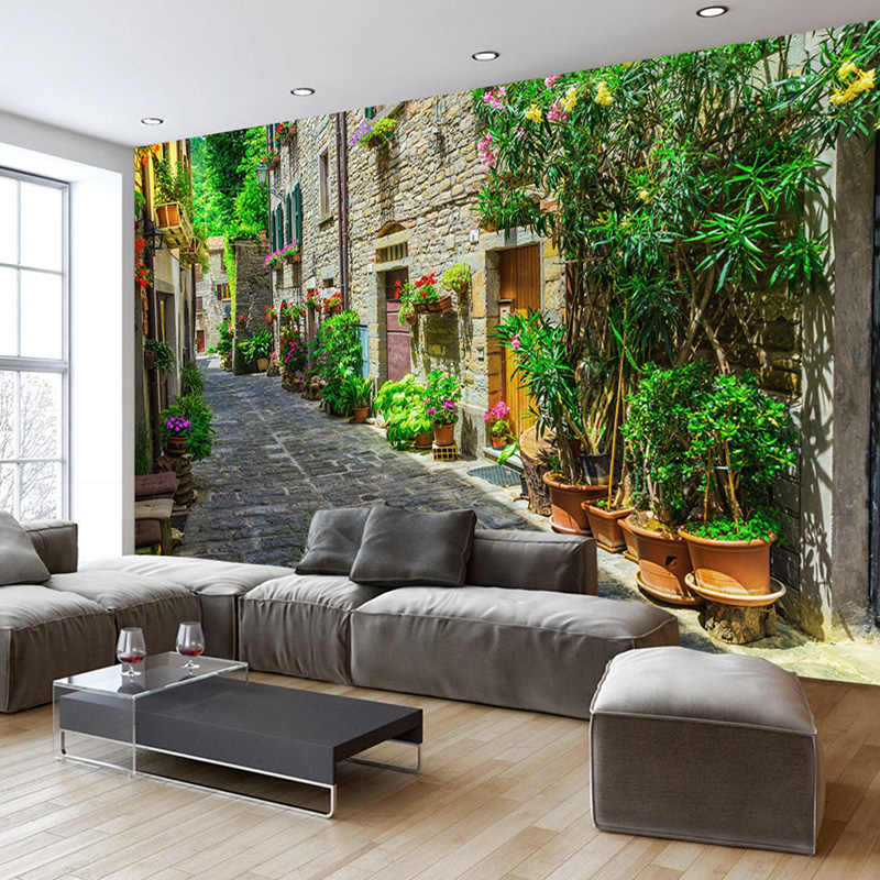 Papel De Parede 3D Wallpaper Custom European Town Street Photo Mural Modern Spatial Expansion Living Room Backdrop Wall Decor 3D
