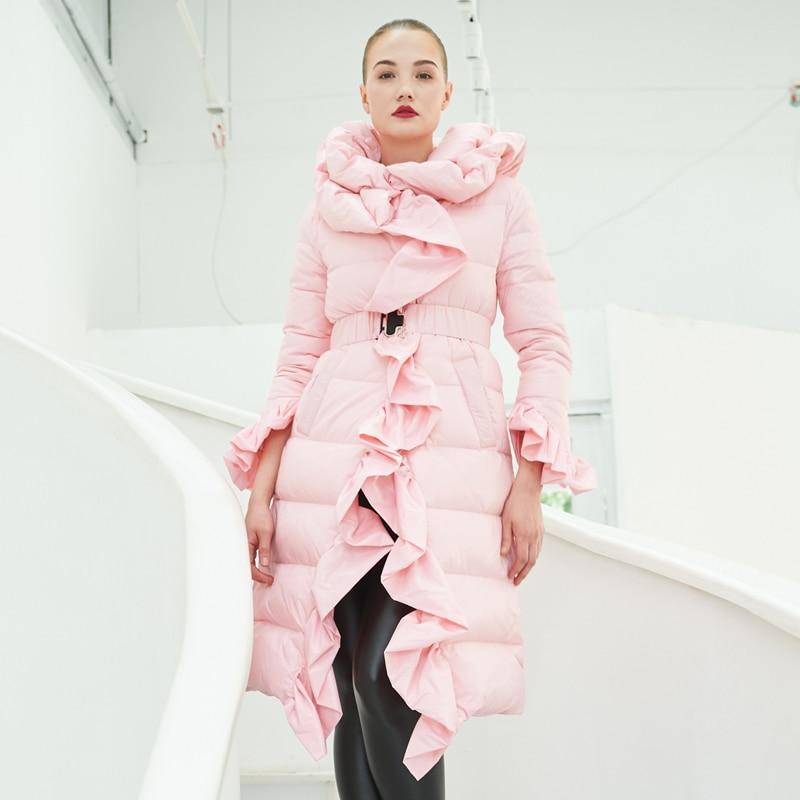 YNZZU Ruffles Elegant Women Down Jacket 2018 Winter Pink Long Thick Warm Made Of Goose Feather Woman Winter Coat Plus Size O565