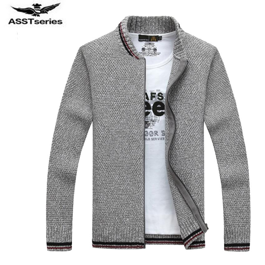 2017 New Mens Sweaters Winter Warm Sweater coat Zipper Collar Casual Cardigan Men Solid Color Knitwear Outerwear 75wy