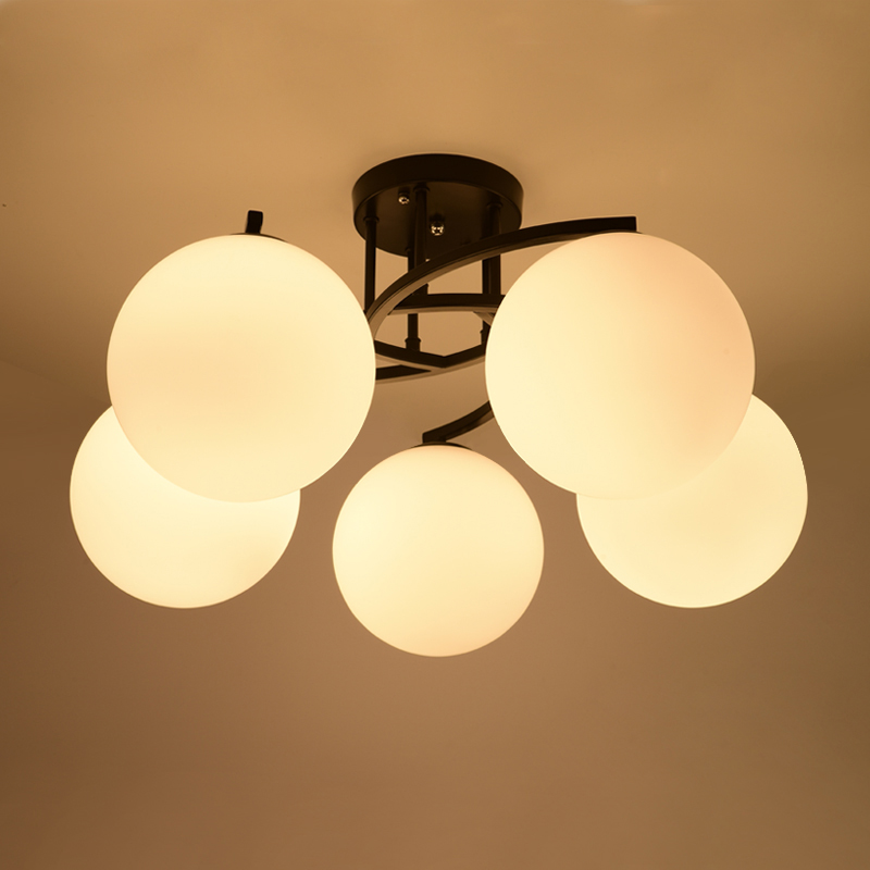 Moden Simple Wrought Iron Glass Shade Ceiling Light Nordic