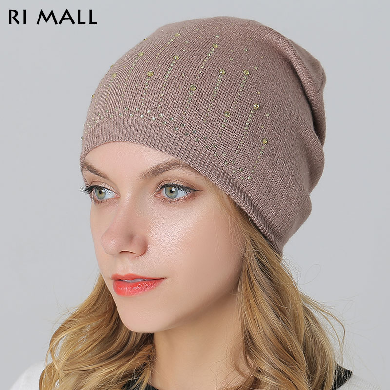 Thick Warm Winter Hat for Women with Rhinestone Wool Knitted Skullies & Beanies Outdoor Casual Rabbit Fur Hats & Caps Diamond skullies