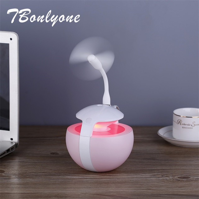 TBonlyone 450ml Air Humidifier Upgrade 3 in 1 Humidifier Home Aroma Water Oil Diffuser with Lamp Fan Ultrasonic Air Humidifier