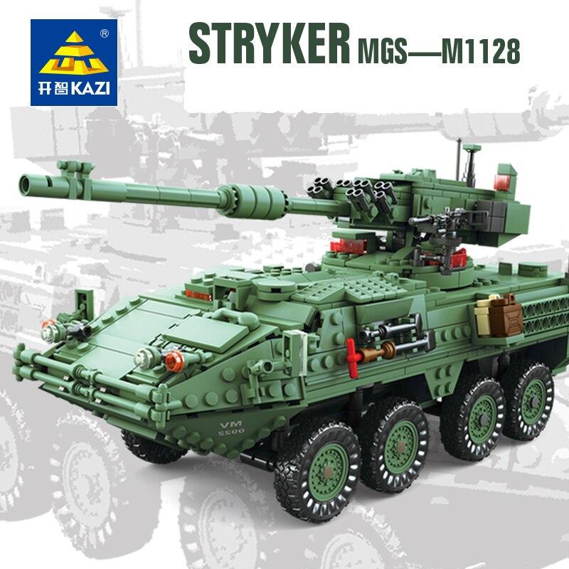 KAZI 10001 Blocks Century Military Tank MGS-M1128 Building Blocks Model Collections Kids Favourite Toys Educational Brinquedos