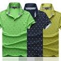 Люксовый Бренд Мужская Polo Рубашки Летняя Мода Повседневная Плюс Размер Dot Печати Рубашки Человек Свободные Короткими Рукавом Рекламная Одежда